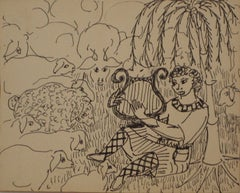 Mid Century Ink Drawing of Figure Strumming A Lyre to a Heard of Sheep