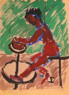 """The Potter"" Mid Century Tempera Painting in Red"