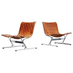 Ross Littel Luar Lounge Chair Pair of Cognac ICF Padova, Italy, 1965