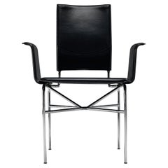 Ross Littell for Matteo Grassi Armchair in Black Leather and Steel