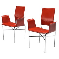 Ross Littell for Matteo Grassi Armchairs in Red Leather and Steel