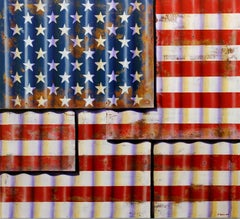 Metal Flag - Photorealistic Oil & Enamel Painting of the American Flag on Canvas