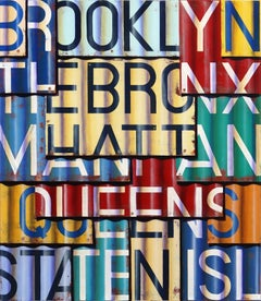 New York Boroughs II - Photorealistic Oil and Enamel Painting on Canvas