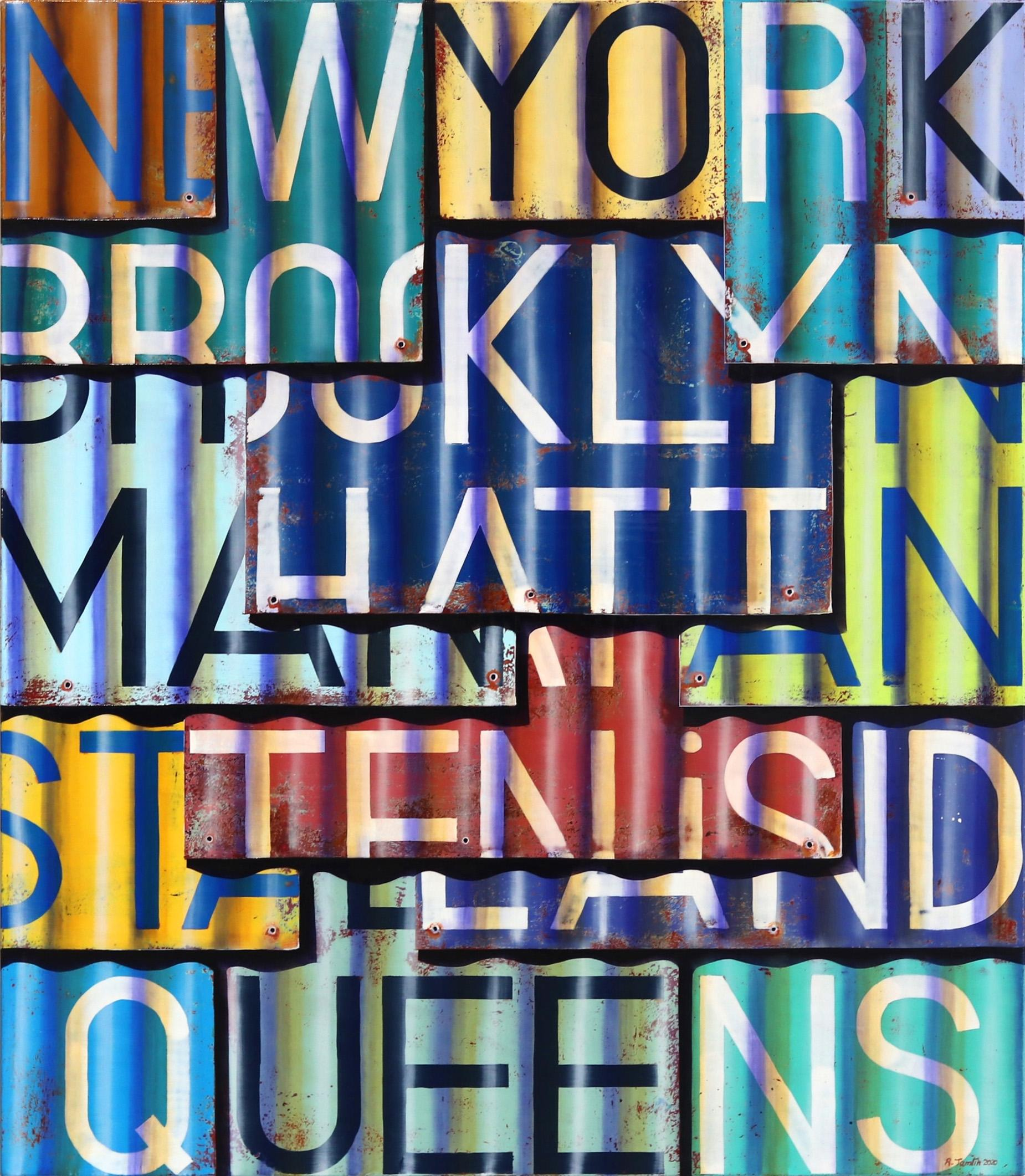 New York Boroughs - Photorealistic Oil and Enamel Painting on Canvas