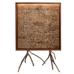 Rossana Orlandi Bark Cabinet in Walnut, Bronze by Francesco Messina for Cypraea