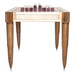 Chaturanga Chess Table in Wood by Hillsideout