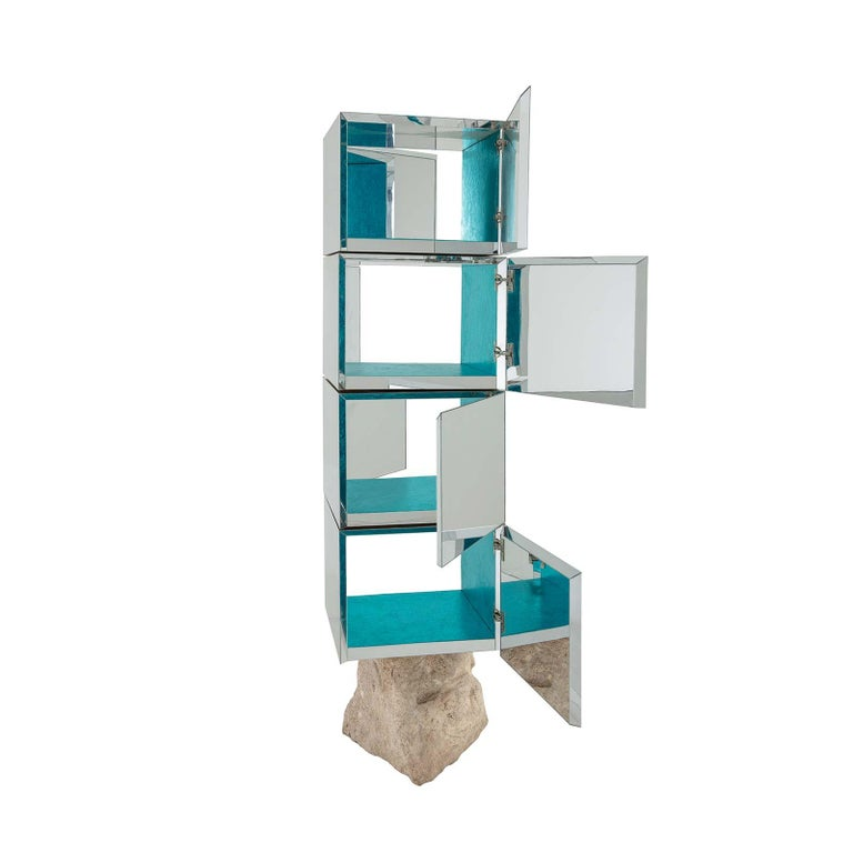 Modern Rossana Orlandi Odyssey 360 Bookshelf in Silver by Francesco Messina for Cypraea For Sale