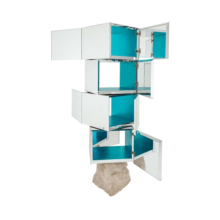 Rossana Orlandi Odyssey 360 Bookshelf in Silver by Francesco Messina for Cypraea For Sale