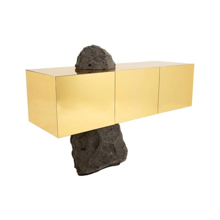 Rossana Orlandi Odyssey H Sideboard in Mirrored Acrylic and Stone by Cypraea For Sale