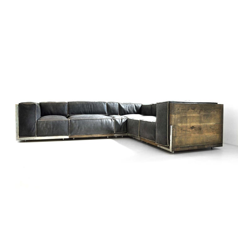 Modern Rossana Orlandi Raw Sofa in Leather and Steel by Matteo Casalegno For Sale
