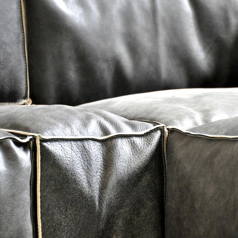 Contemporary Rossana Orlandi Raw Sofa in Leather and Steel by Matteo Casalegno For Sale