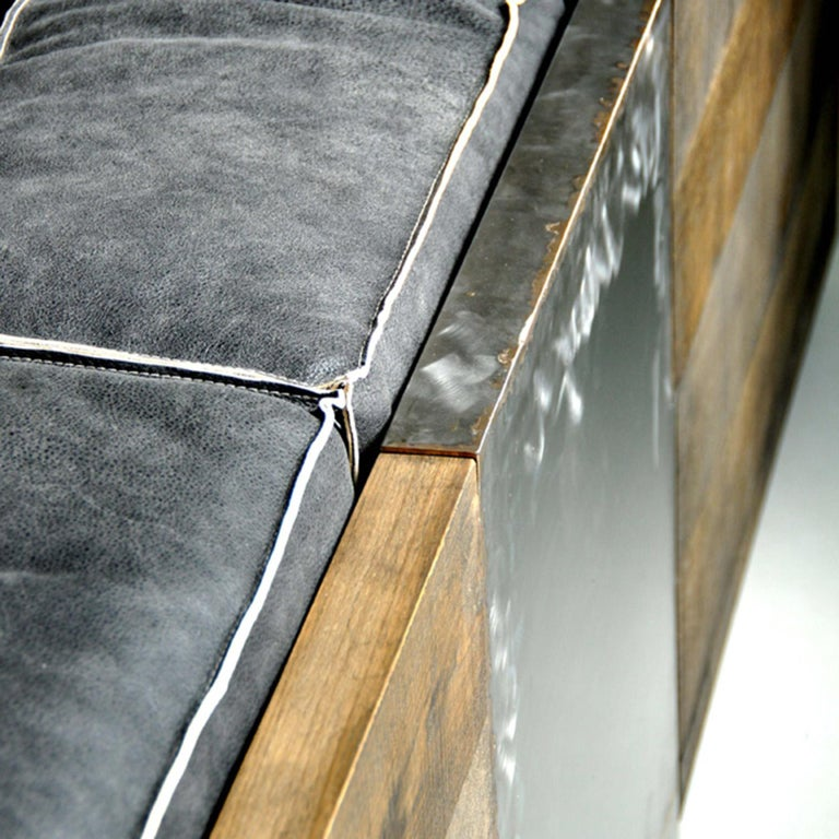 Rossana Orlandi Raw Sofa in Leather and Steel by Matteo Casalegno For Sale 2