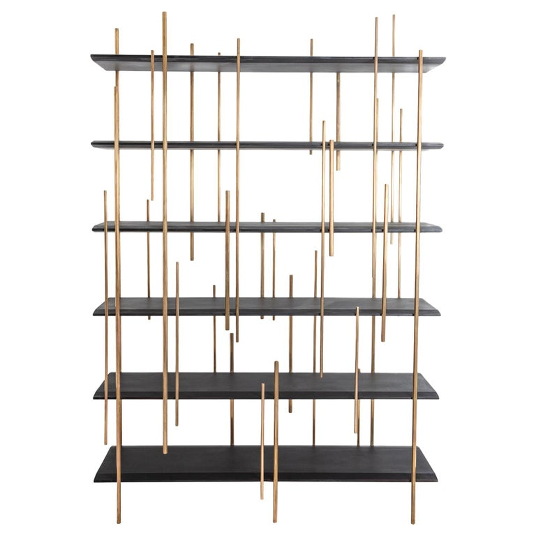 Rossana Orlandi Rochester Bookshelf in Wenge Wood and Brass by Cypraea For Sale
