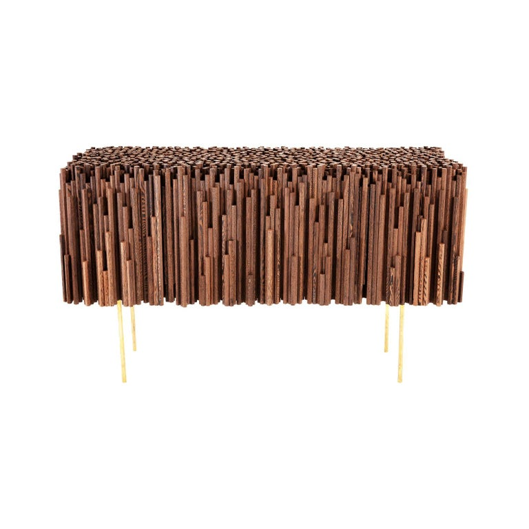 Rossana Orlandi Rochester Sideboard in Wenge Wood and Brass by Cypraea For Sale