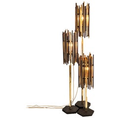 Rossana Orlandi Set of Rochester Floor Lamps in Wenge Wood and Brass by Cypraea
