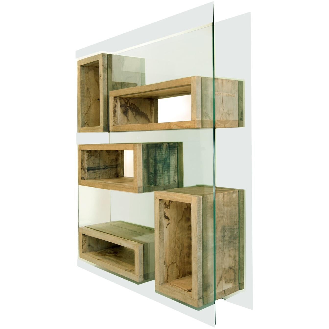 Rossana Orlandi Volumi Sospesi L Bookcase in Wood and Glass by Matteo Casalegno