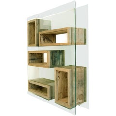 Rossana Orlandi Volumi Sospesi L Bookcase in Wood and Glass by Matteo Casalegno
