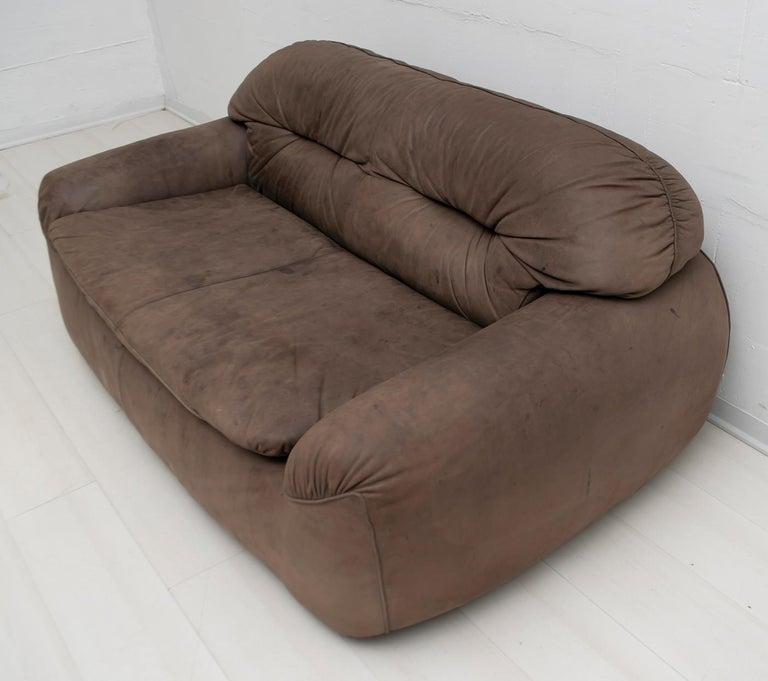 Leather Rossi di Albizzate Modern Italian Elephant Skin Sofa, 1989 For Sale