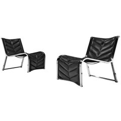 Rossi di Albizzate Pair of Lounge Chairs in Leather and Chrome