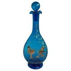 Rossler Bohemian Royal Blue Glass Enamel Decanter