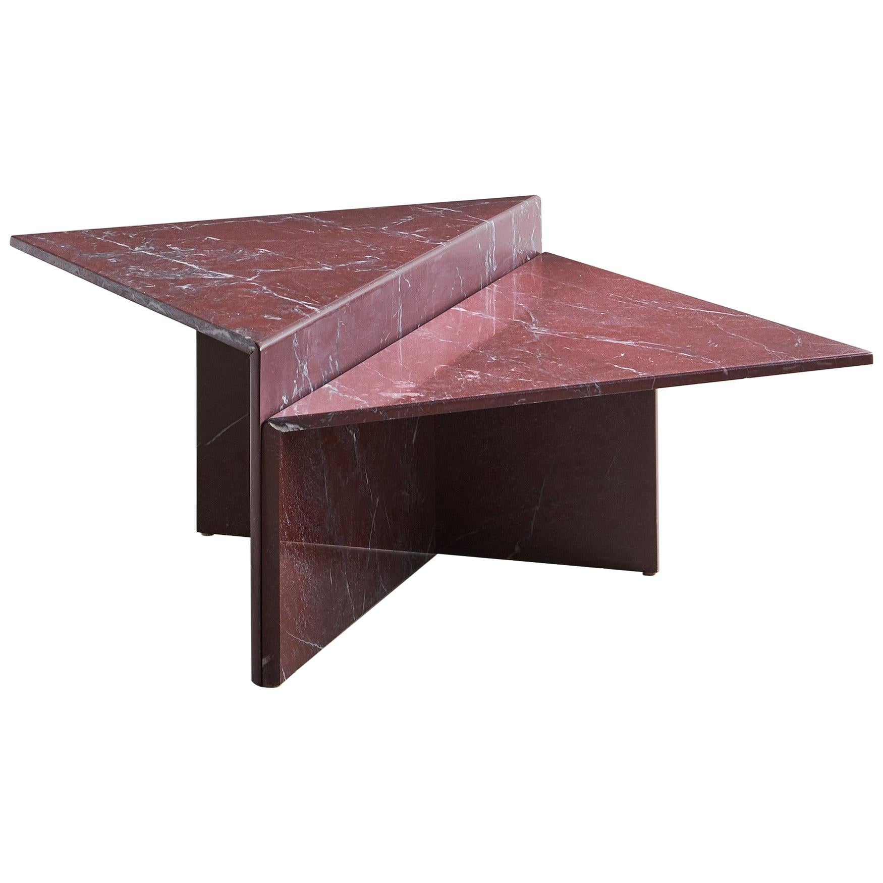 Rosso Francia Two-Tiered Marble Coffee Table
