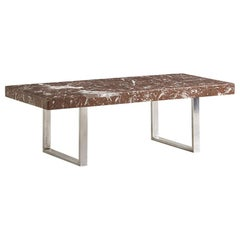 Rosso Levanto Marble and Chrome Coffee Table