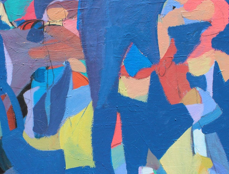 Harmony - Blue Figurative Painting by Rostom