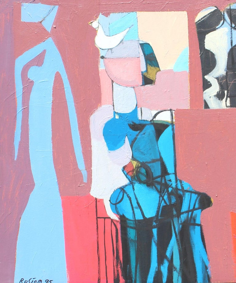 The waiting - Pink Figurative Painting by Rostom