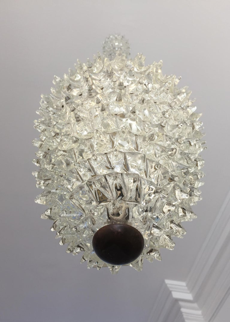 'Rostrato' Hand Blown Glass Ceiling Pendant by Ercole Barovier, circa 1940 In Good Condition For Sale In London, GB