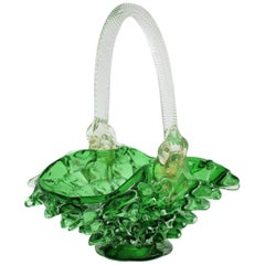 Rostrato Murano Glass Centerpiece Basket Vase by Ercole Barovier