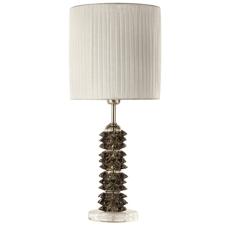 Artistic Rostri Table Lamp Light Grey Murano Glass, Grey Lampshade by Multiforme For Sale