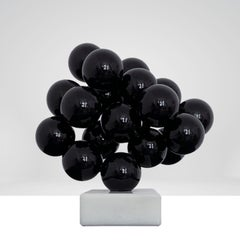 Alien on white marble, Black Steel Minimalistic Abstract Sculpture