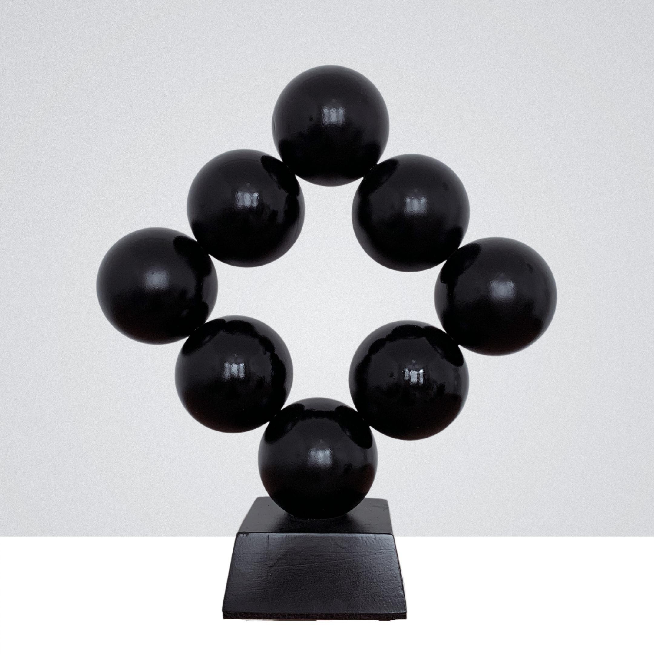 Black Rhombus Steel Office Cabinet Interior Sculpture