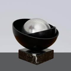 Black Shell with Big Silver Pearl Steel Minimalistic Abstract Sculpture