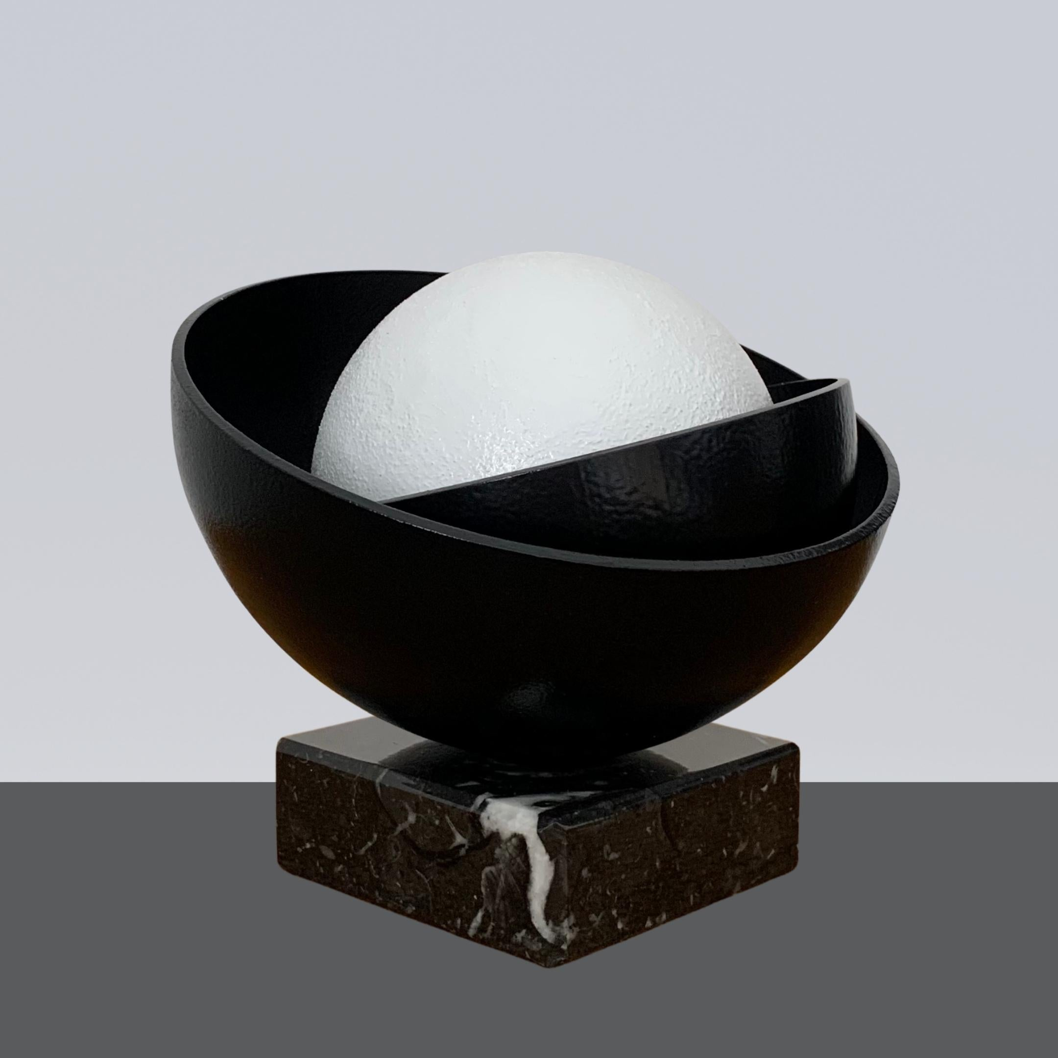 Black Shell with Big White Pearl Steel Minimalistic Abstract Sculpture
