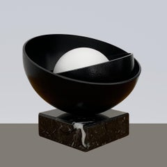 Black Shell with Small White Pearl Steel Minimalistic Abstract Sculpture