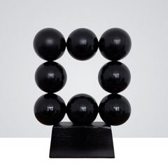 Black Square Steel Office Cabinet Interior Sculpture