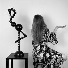Flamingo Sculpture Black Steel Minimalist Abstract