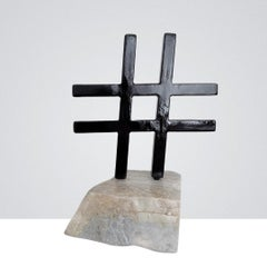 'Hashtag' in black, Steel and Marble Office Cabinet Interior Sculpture
