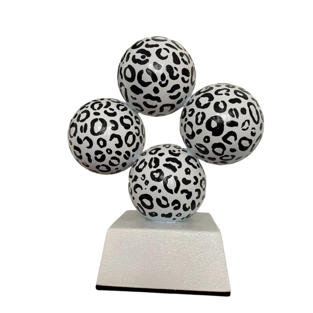 'Leopard' , Black and White Steel Office Interior Sculpture
