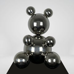Middle Stainless Steel Bear, Minimalistic Animal Sculpture