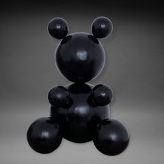 'Total Black', Steel Bear Animal Abstract Sculpture