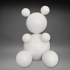 'Total White', Steel Bear Animal Abstract Sculpture