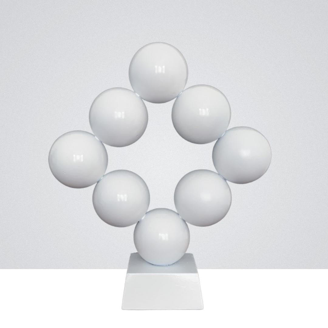 White Rhombus Steel Office Cabinet Interior Sculpture