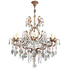 Rosy Crystal Antique Chandelier Ceiling Florentiner Lustre Art Nouveau