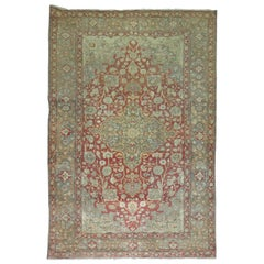 Rosy Red and Gray Antique Turkish Sivas Carpet