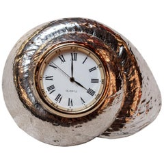 Silvered Rosy Top Sea Shell with Clock by Creel and Gow