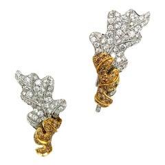 Rota & Rota 18kt WG/YG Brown & White 5.03ct. Diamond Leaf Earrings