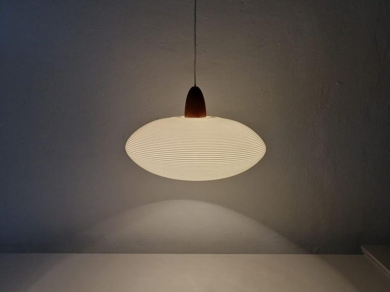 Teak Mid-Century Modern Rotaflex Pendant Lamp by Yasha Heifetz, 1960s For Sale