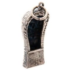Vintage Silver Rotan Beach Chair Charm